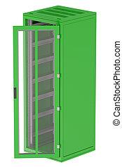 verde, servidor, estante