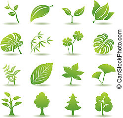 verde, set, foglia, icone