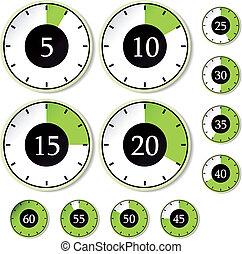 verde, set, vettore, temporizzatori