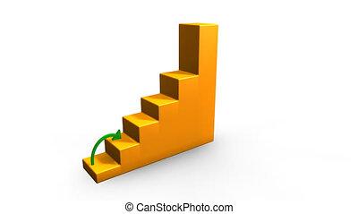 verde, seta, e, graphs., saúde, economia