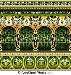 verde, seta, ornamento, seamless
