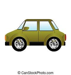 verde, silhouette, con, grande, automobile
