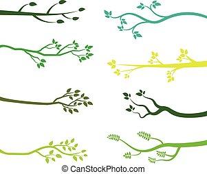 verde, silhuetas, filial árvore