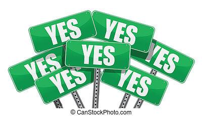 verde, sim, sinais, ilustração, desenho