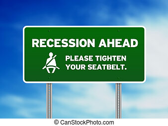 verde, sinal estrada, -, recessão, à frente