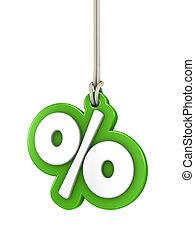 verde, sinal porcentagem, isolado, branco, fundo, pendurar,...