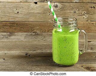 verde, smoothie, ligado, madeira, fundo