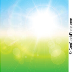 verde, soleado, plano de fondo