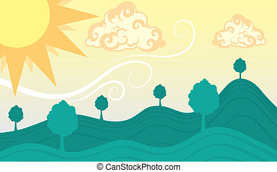 verde, soleggiato, colline, cielo