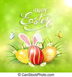 verde, soleggiato, fondo, con, uova pasqua, e, orecchi coniglio, in, erba
