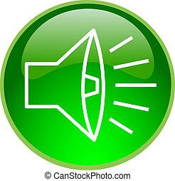 verde, sonido, botón
