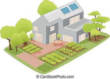 verde, sostenibile, casa, illustrazione