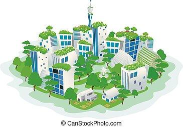 verde, sostenibile, città, illustrazione