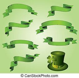 verde, st., nastri, patrick's, giorno