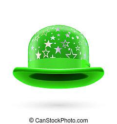 verde, starred, jugador de bolos sombrero