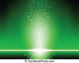 verde, stelle, fondo.