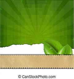verde, sunburst, plano de fondo, textura