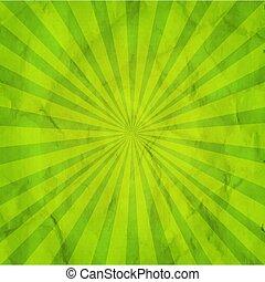 verde, sunburst, retro, plano de fondo