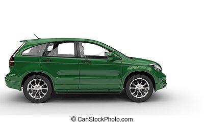 verde, suv, vista lateral