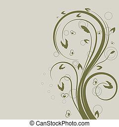 verde, swirly, floral, vetorial, projete elemento, com, cópia, space.