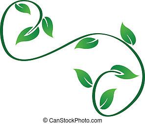 verde, swirly, folhas, logotipo