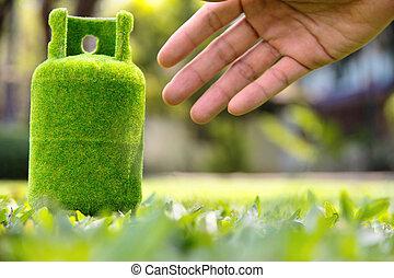 verde, tanque gás