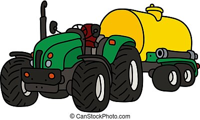verde, tanque, trator, amarela