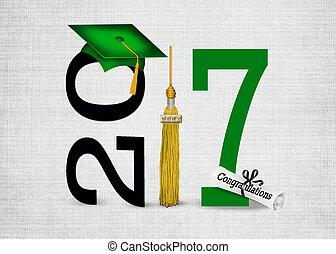 verde, tapa graduación, para, 2017