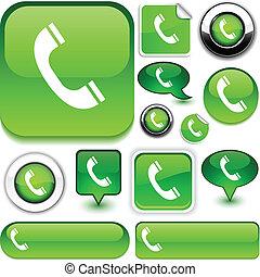 verde, telefono, signs.