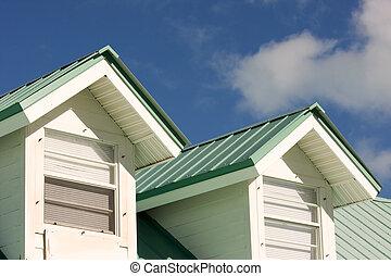 verde, telhado