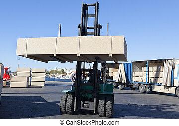 verde, tenedor, levantador, camión, y, carga, caja