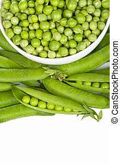 verde, tigela, ervilhas