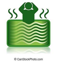 verde, tina caliente, /, balneario, baño, /, bañera