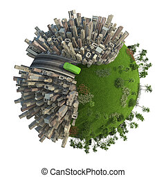 verde, transporte energía, concepto, planeta