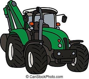 verde, trator, escavador