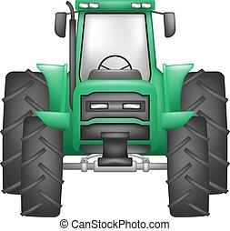verde, trator, ilustração