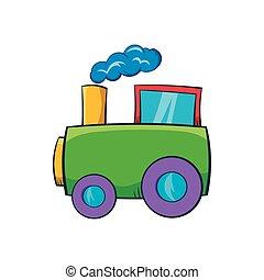 verde, trem brinquedo, ícone, caricatura, estilo