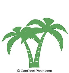 verde, tres, silueta, palmas