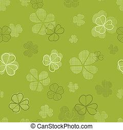 verde, trevo, têxtil, textura, seamless, padrão, fundo