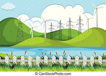 verde, turbinas, colinas, viento