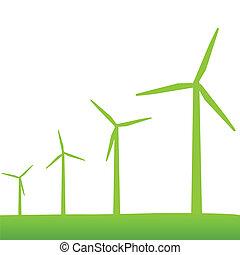 verde, turbinas, poder vento