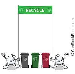verde, uomini, bandiera, presa a terra