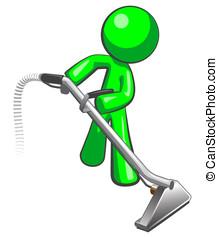 verde, uomo, con, vapore, pulitore, moquette, bacchetta