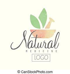 verde, uso, natural, morteiro, concept., leaves., criativo, aquarela, pilão, vetorial, desenho, tratamento, logotipo, medicina, saúde, alternativa, herbário, remedies.