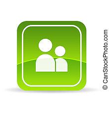 verde, usuario, cuenta, icono