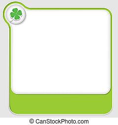 verde, vector, texto, cajas, con, hoja de trébol