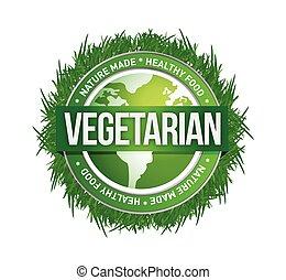 verde, vegetariano, desenho, ilustração, selo
