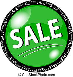 verde, venta, botón
