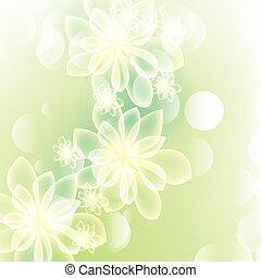 verde, verano, primavera, plano de fondo, con, flores