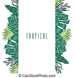 verde, verano, tropical, plano de fondo, con, exótico, palma...